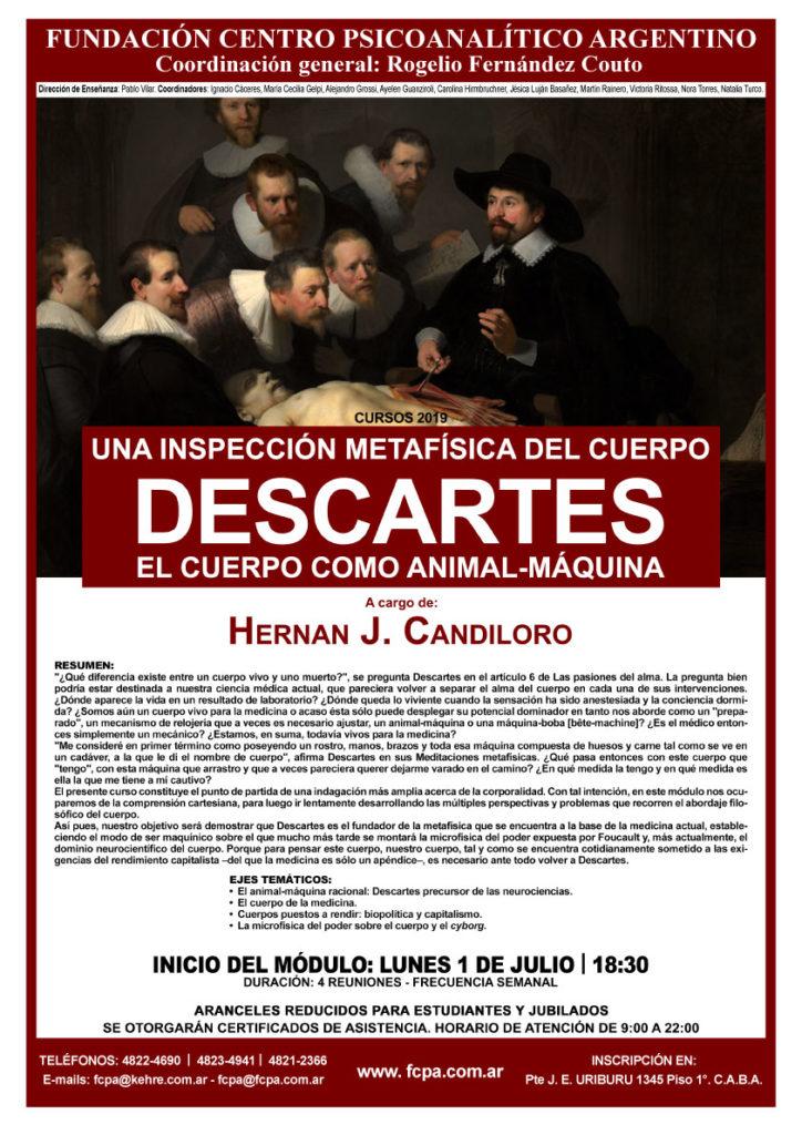Afiche del curso sobre el cuerpo en Descartes