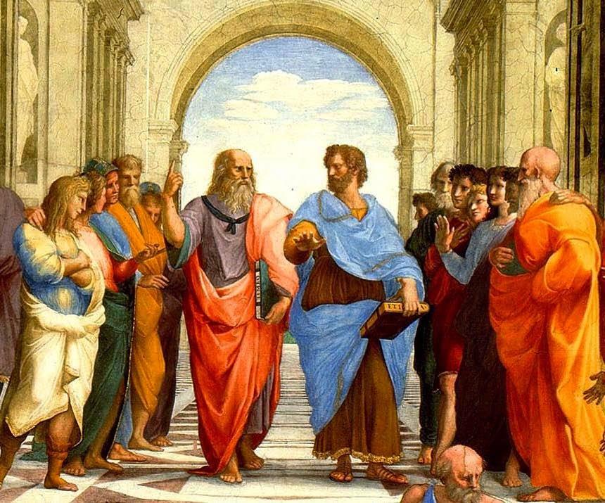 """Detalle de Platón y Aristóteles en el cuadro de Rafael """"La escuela de Atenas"""""""